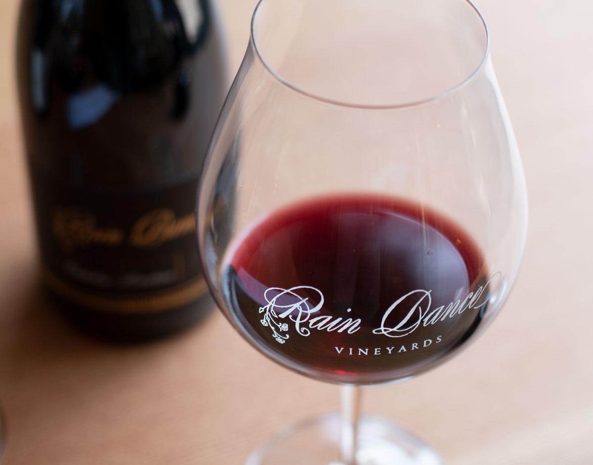 Full glasses of Pinot noir at Rain Dance vineyards