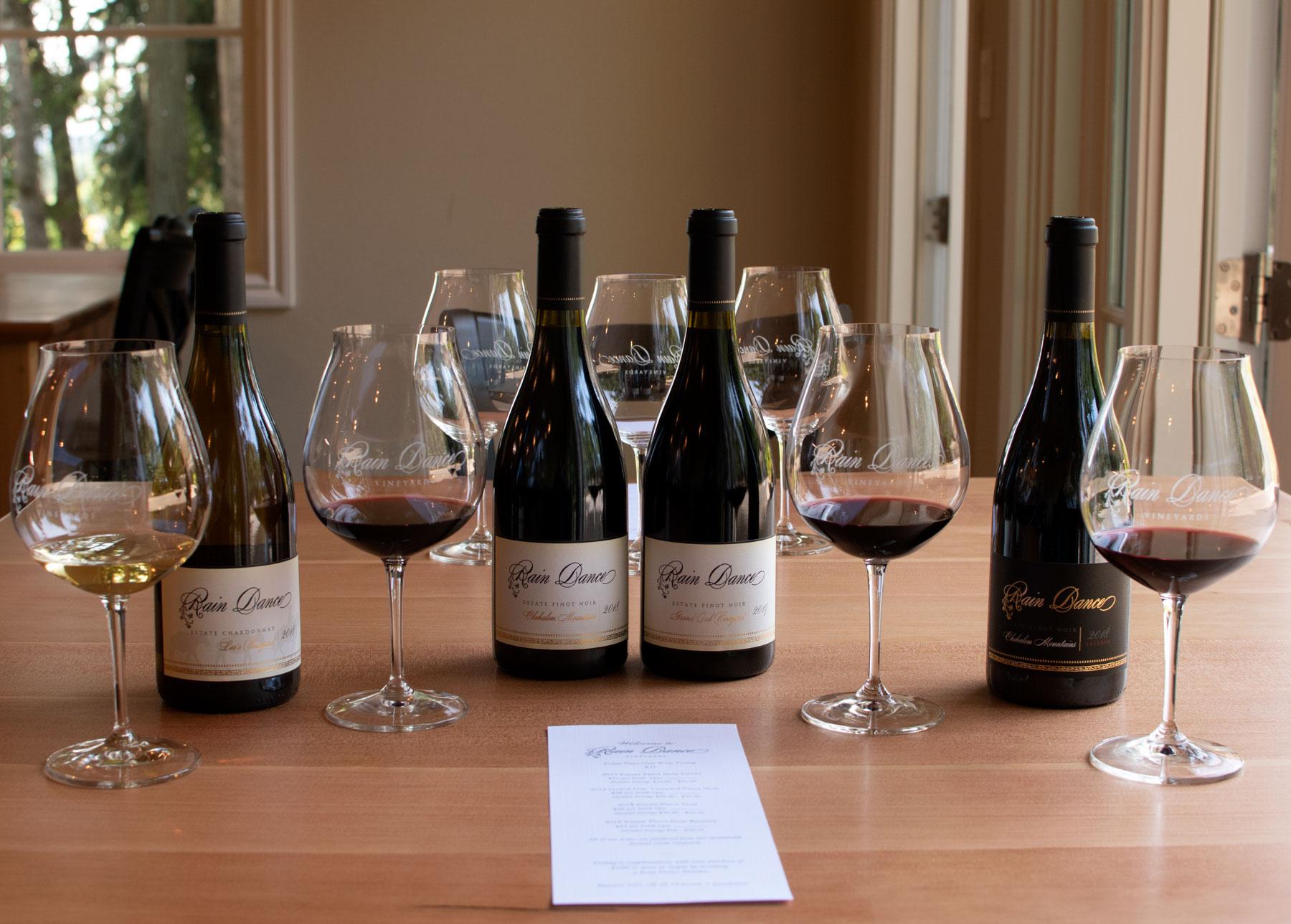 Enjoy a full flight of wines at Rain Dance Vineyards