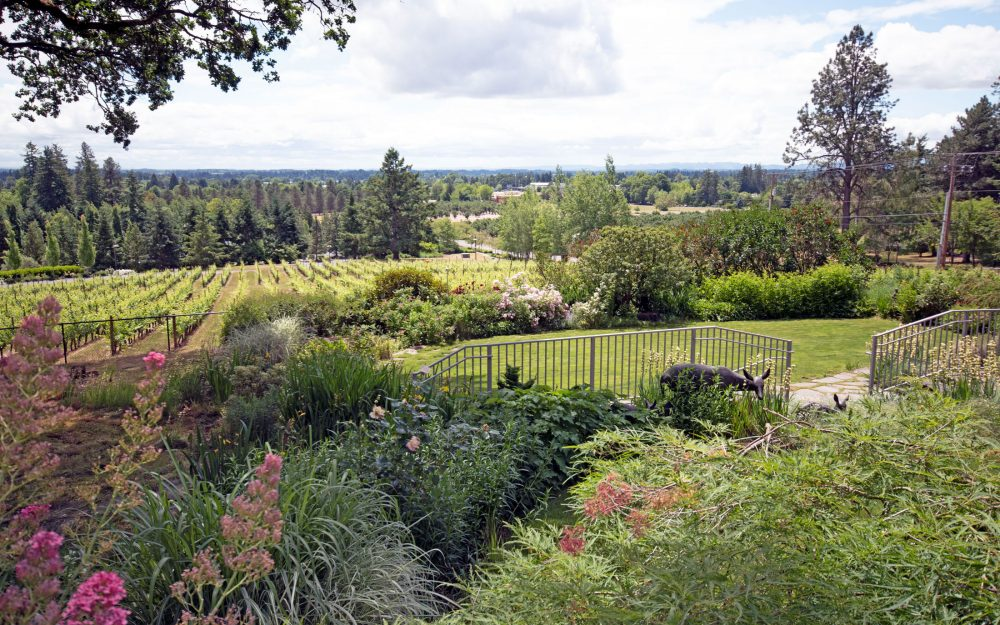 Patio and flower-filled gardens at Rain Dance Vineyards